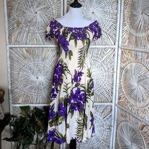 Dress: Ruched Off the Shoulder Island Floral